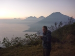 Overlooking Lake Atitlan, Guatemala at sunrise