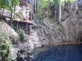 Diving into the cenotes, Yucatan, Mexico
